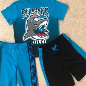 Garanimals boys 5T lot. 2 blue shorts & 1 shark T